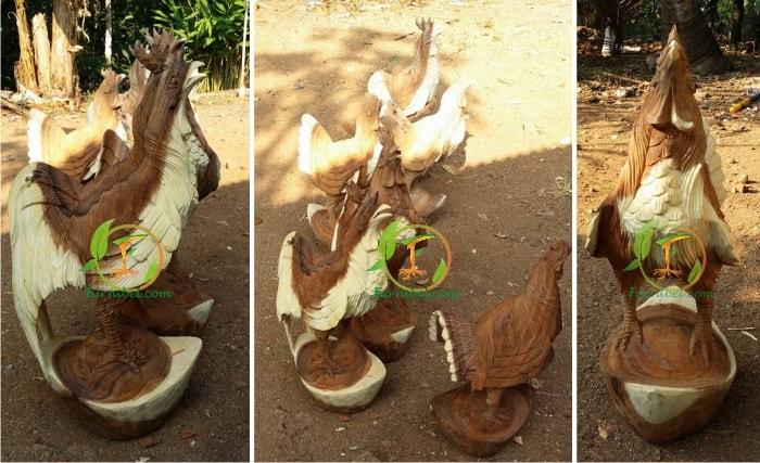Jual Patung Ayam Ukir Kayu