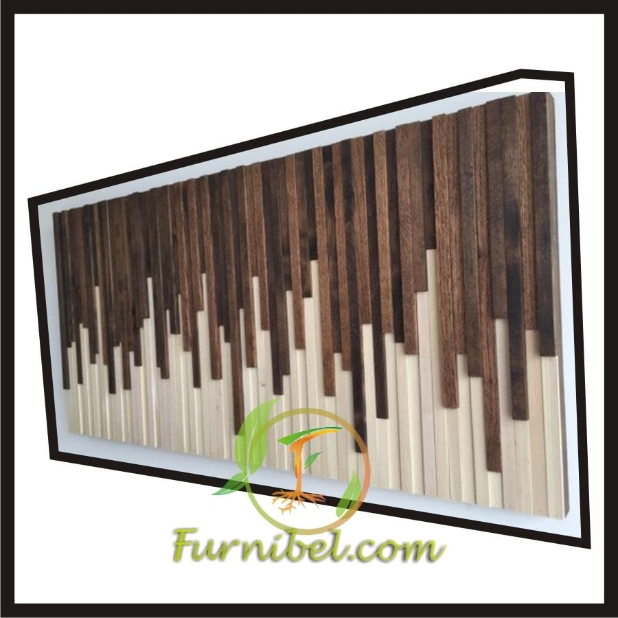Karya Seni Tembok Kayu Jati Piano Acak
