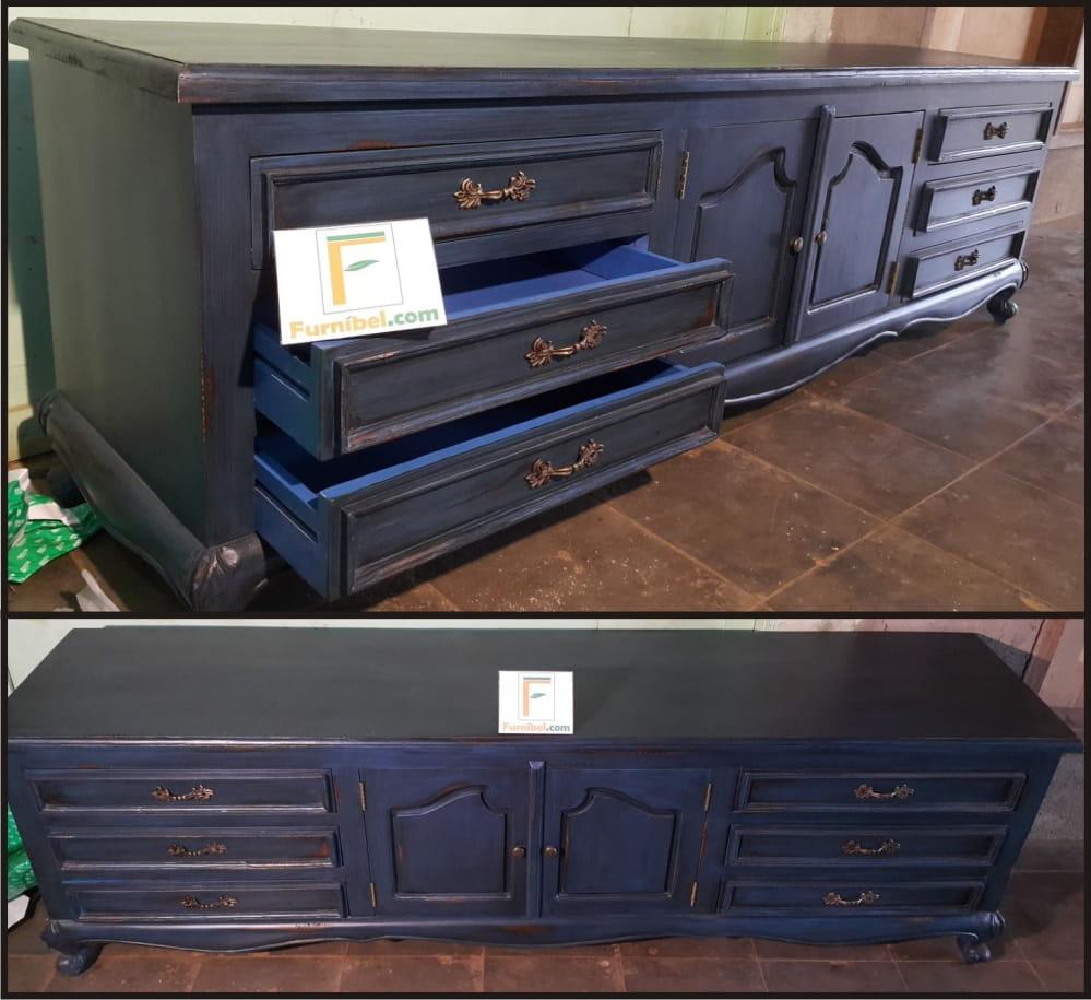 Meja Tv Ukir Vintage Blue Old Style