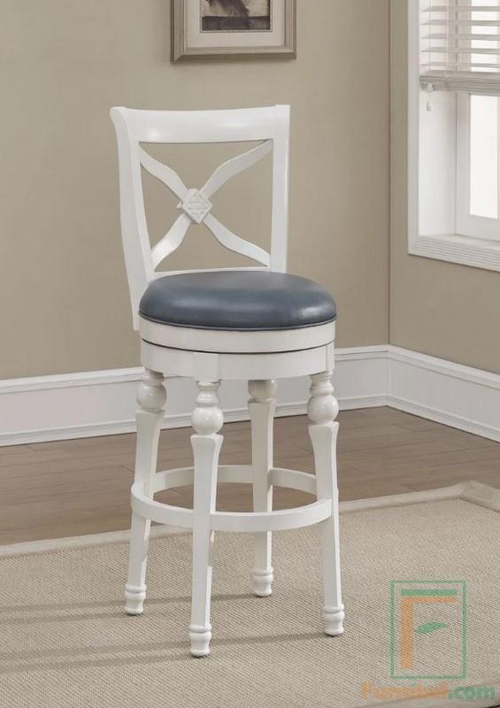Kursi Bar Sandaran dengan Dudukan Bulat warna Putih