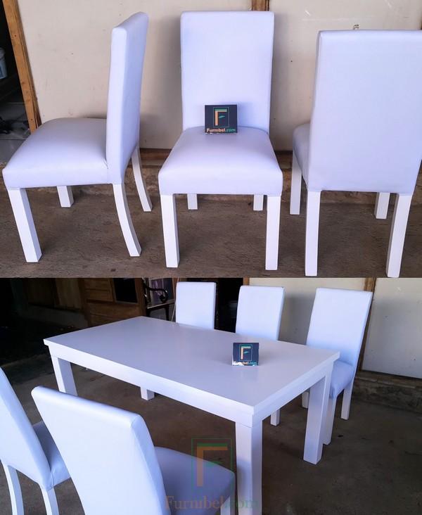 Set Meja Makan Minimalis Putih