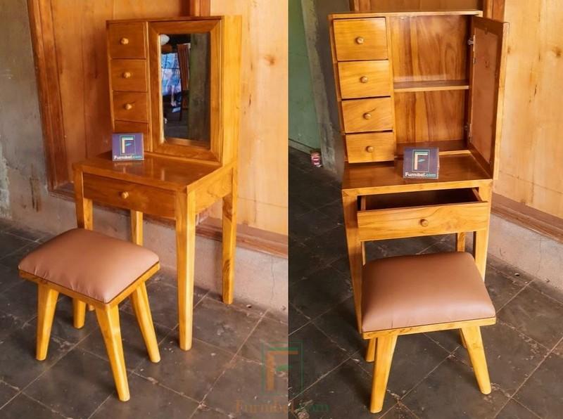 Meja Rias Kayu Jati Solid untuk ruangan kecil