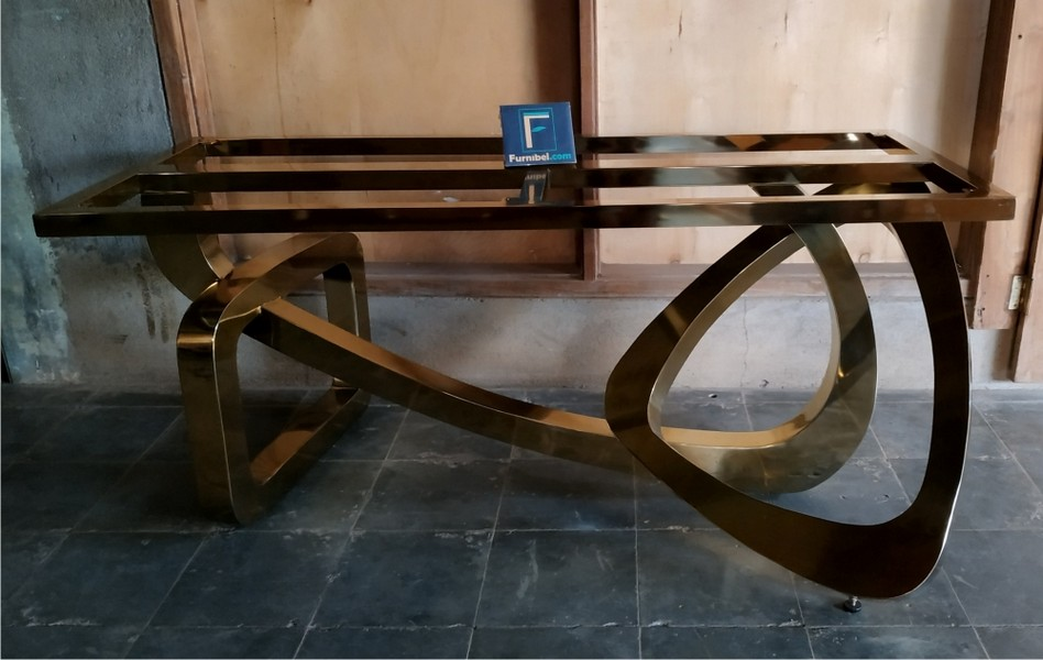 Kaki Meja Stainless Gold Abstrak Modern