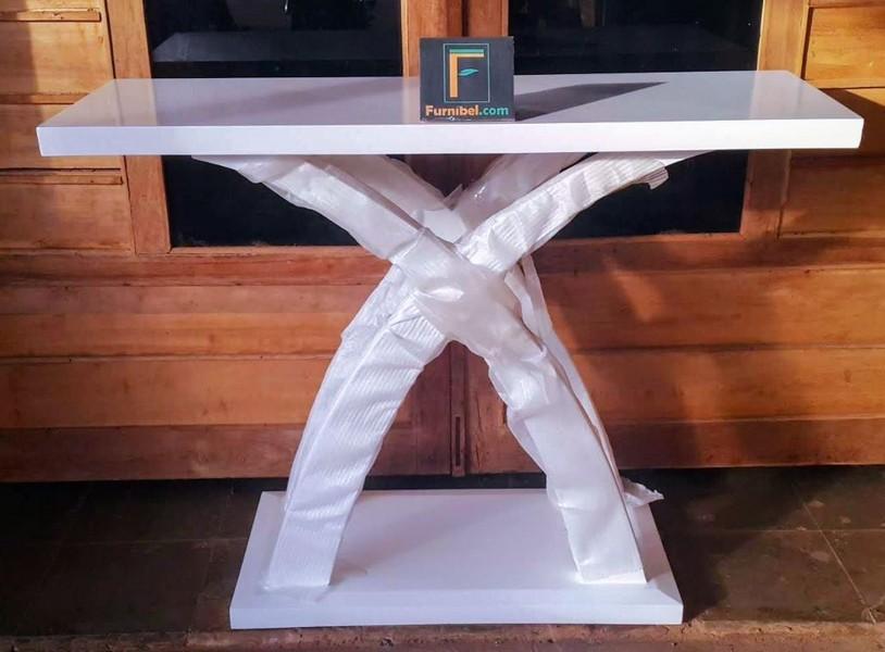 Meja Konsul Silang X Modern Duco Putih