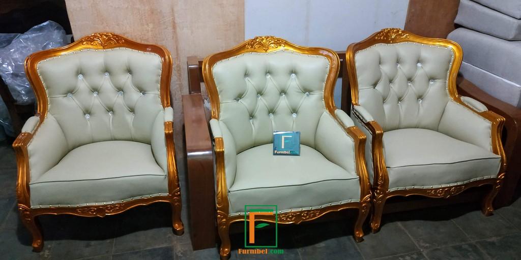 Set Kursi Sofa Pengantin Emas Ukiran Mewah Kayu Jati