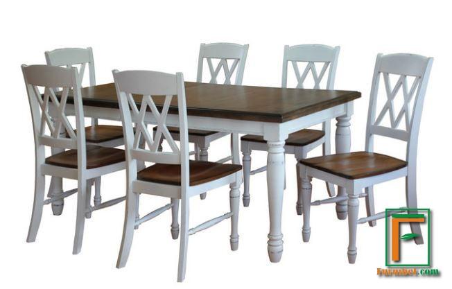 Set Meja Makan 6 Kursi Minimalis Natural Kombinasi Putih Kaki Bubutan
