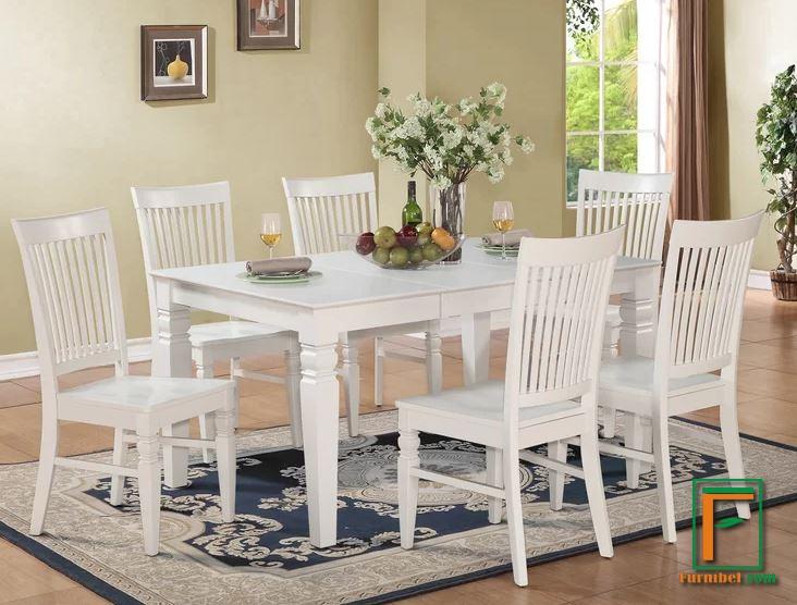 Set Meja Makan Minimalis Klasik 6 Kursi Kayu Mahoni Putih