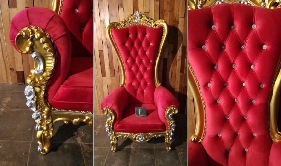 Kursi Sofa Pengantin Emas Kombinasi Silver