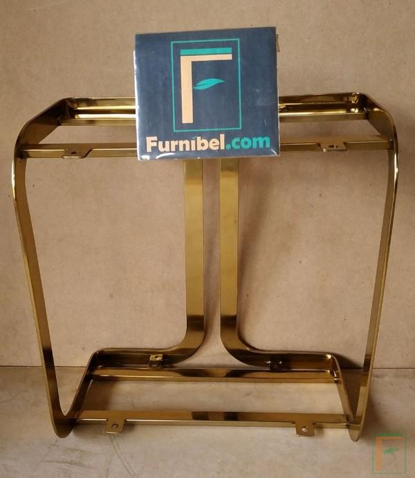 Meja Kopi Minimalis Stainless Gold Lengkung