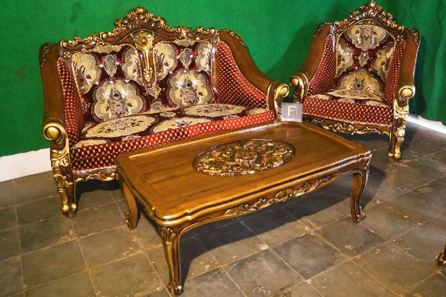 Set Kursi Tamu Sofa Ukir Coklat Emas Jok Bunga