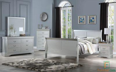 Set Tempat Tidur Finishing Silver Perak Meja Cermin