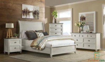 Set Tempat Tidur Minimalis Duco Putih Kayu Mahoni Murah