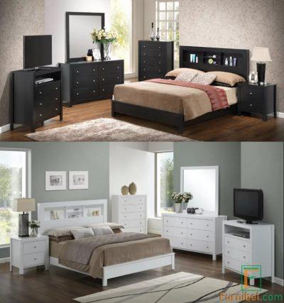 Set Tempat Tidur Monokrom Hitam Putih Custom Warna