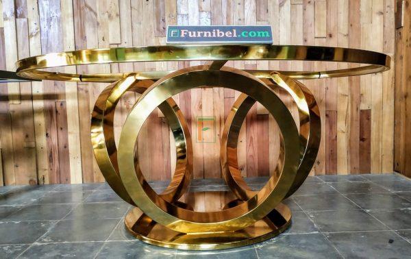 Kaki Meja Makan Stainless 304 Gold Mengkilap Mewah Lingkaran 3