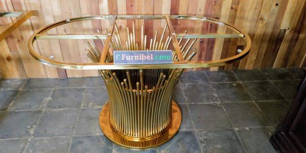 Meja Makan Marmer Oval Stainless Jari Mekar Bunga Emas