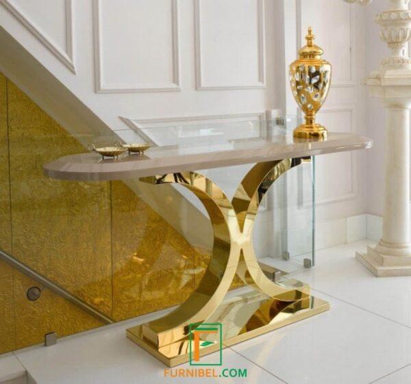 Meja Foyer Stainless Gold Glossy Kilap