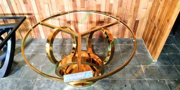 Meja Makan Marmer Stainless 304 Gold Mirror Glossy