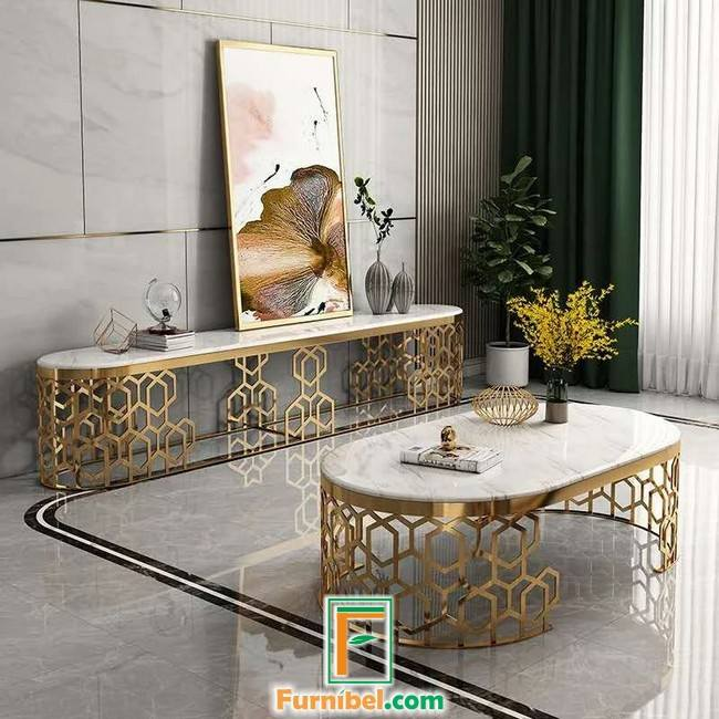 Meja Tv Stainless Gold Mirror Top Marmer