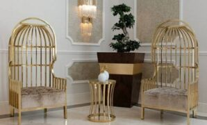 Kursi Sofa Santai Stainless Gold Mirror Mewah