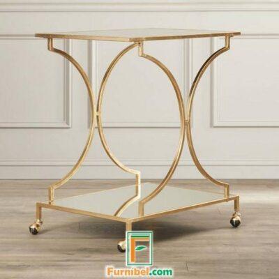 Meja Dorong Troli Stainless Gold Mirror Minimalis Modern Mewah